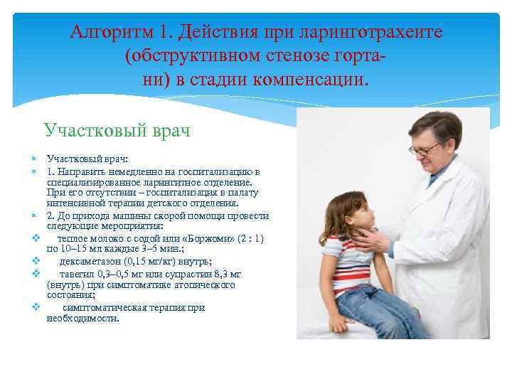 Алгоритм 1. Действия при ларинготрахеите (обструктивном стенозе гортани) в стадии компенсации. Участковый врач: 1.