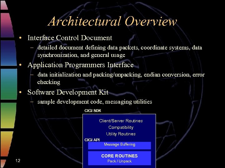 Architectural Overview • Interface Control Document – detailed document defining data packets, coordinate systems,