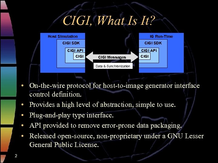 CIGI, What Is It? Host Simulation IG Run-Time CIGI SDK CIGI API CIGI SDK