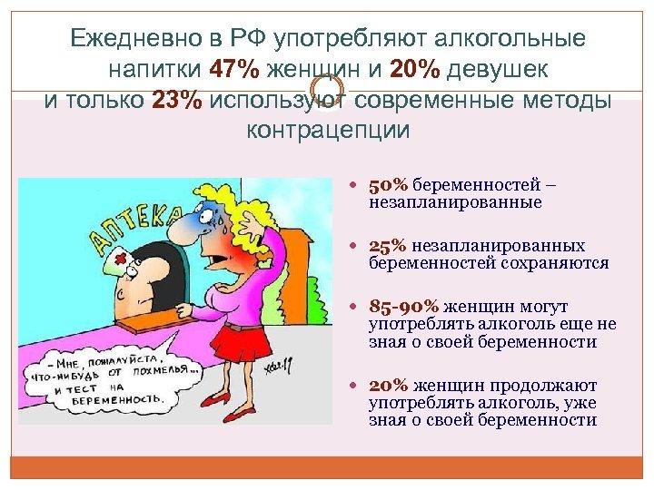 Ежедневно в РФ употребляют алкогольные напитки 47% женщин и 20% девушек и только 23%