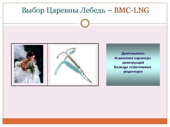 Выбор Царевны Лебедь – ВМС-LNG Длительность Изменение характера менструаций Блокада эстрогеновых рецепторов