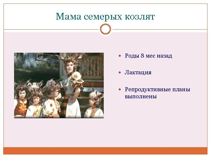 Мама семерых козлят Роды 8 мес назад Лактация Репродуктивные планы выполнены