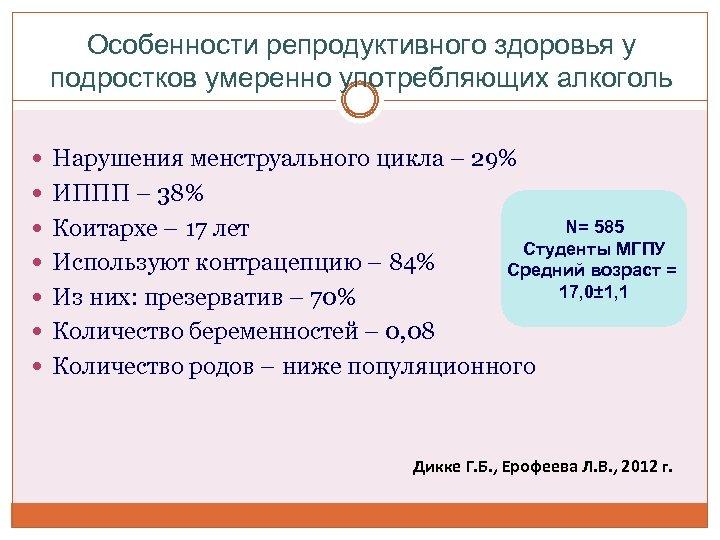 Особенности репродуктивного здоровья у подростков умеренно употребляющих алкоголь Нарушения менструального цикла – 29% ИППП