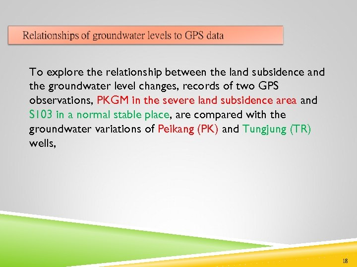 To explore the relationship between the land subsidence and the groundwater level changes, records