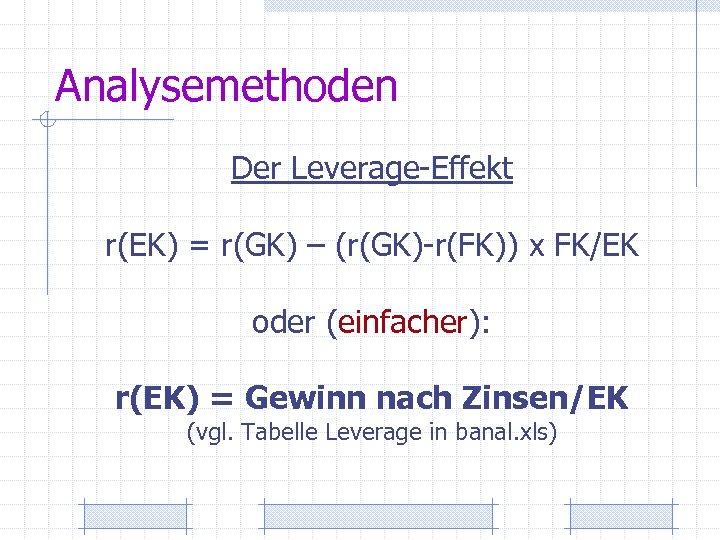 Analysemethoden Der Leverage-Effekt r(EK) = r(GK) – (r(GK)-r(FK)) x FK/EK oder (einfacher): r(EK) =