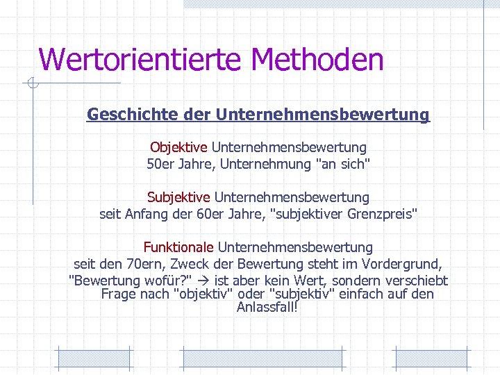 Wertorientierte Methoden Geschichte der Unternehmensbewertung Objektive Unternehmensbewertung 50 er Jahre, Unternehmung