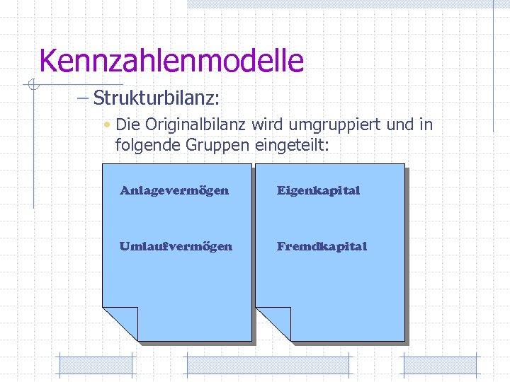 Kennzahlenmodelle – Strukturbilanz: • Die Originalbilanz wird umgruppiert und in folgende Gruppen eingeteilt: Anlagevermögen