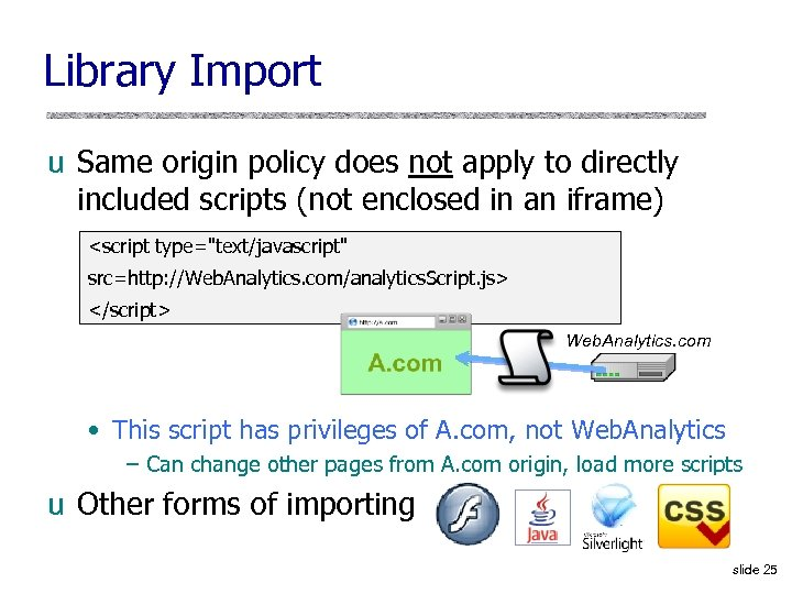 Library Import u Same origin policy does not apply to directly included scripts (not