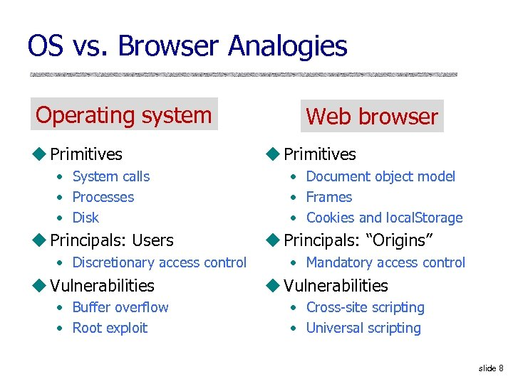 OS vs. Browser Analogies Operating system u Primitives • System calls • Processes •
