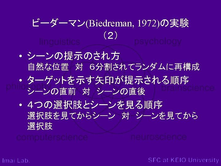 ビーダーマン(Biedreman, 1972)の実験 (2) • シーンの提示のされ方 自然な位置 対 6分割されてランダムに再構成 • ターゲットを示す矢印が提示される順序 シーンの直前 対 シーンの直後 • 4つの選択肢とシーンを見る順序 選択肢を見てからシーン 対 シーンを見てから 選択肢