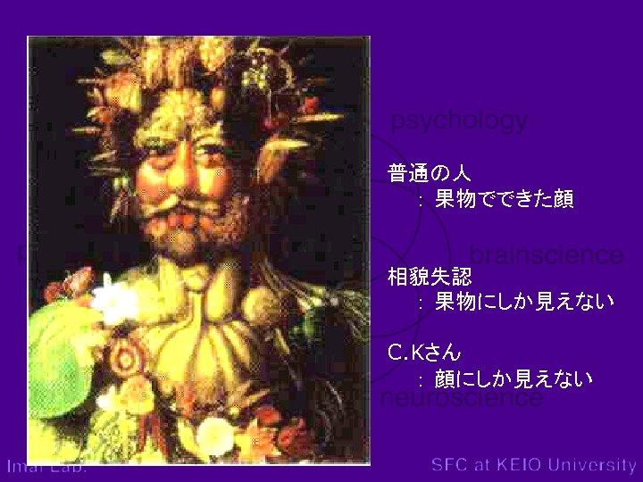 普通の人   : 果物でできた顔 相貌失認   : 果物にしか見えない C. Kさん   : 顔にしか見えない