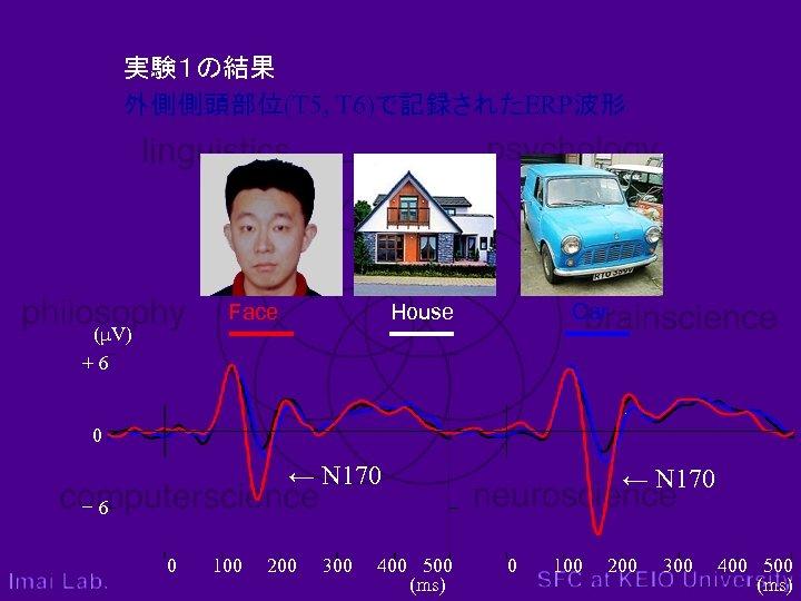 実験1の結果 外側側頭部位(T 5, T 6)で記録されたERP波形 Face (μV) +6 House Car 0 ← N 170