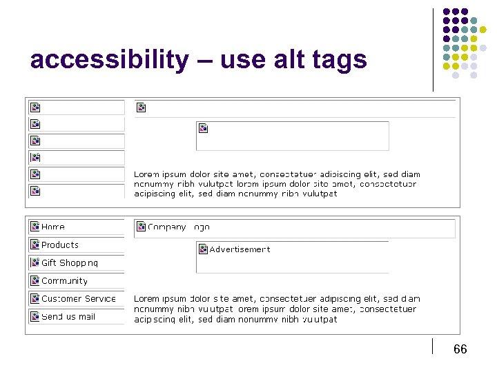 accessibility – use alt tags 66