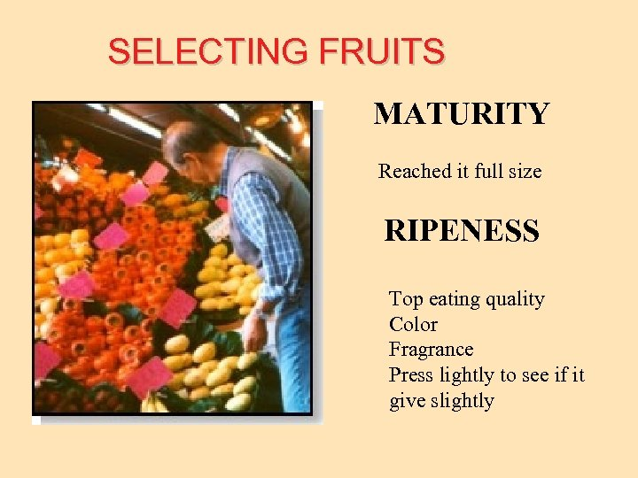 SELECTING FRUITS MATURITY Reached it full size RIPENESS Top eating quality Color Fragrance Press