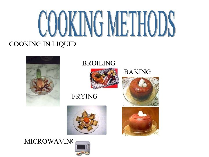 COOKING IN LIQUID BROILING BAKING FRYING MICROWAVING
