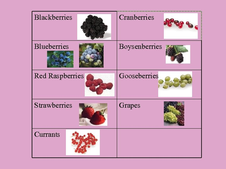 Blackberries Cranberries Blueberries Boysenberries Red Raspberries Gooseberries Strawberries Grapes Currants