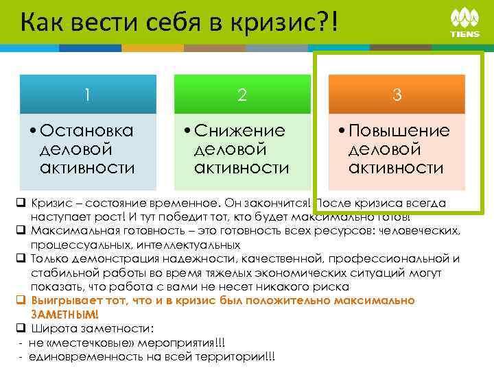Как вести себя в кризис? ! 1 • Остановка деловой активности 2 • Снижение