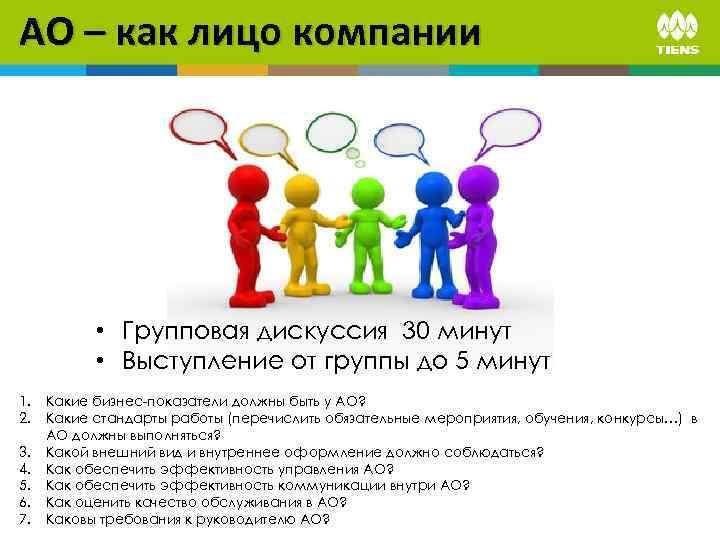 АО – как лицо компании • Групповая дискуссия 30 минут • Выступление от группы