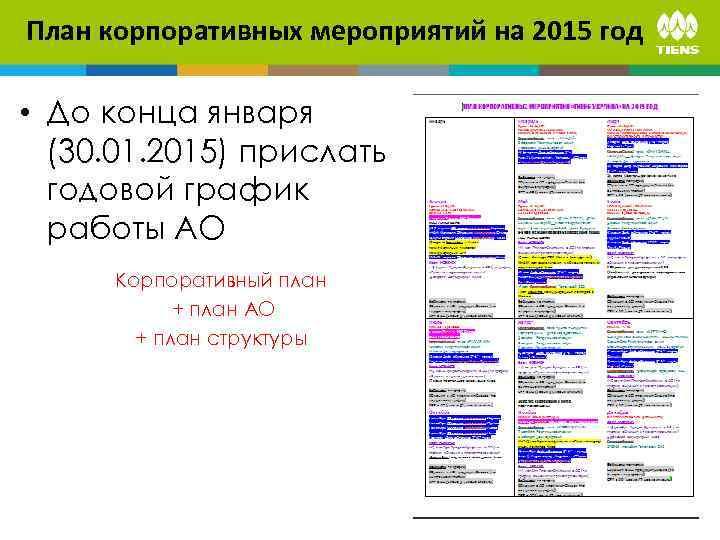 План корпоративных мероприятий на 2015 год • До конца января (30. 01. 2015) прислать