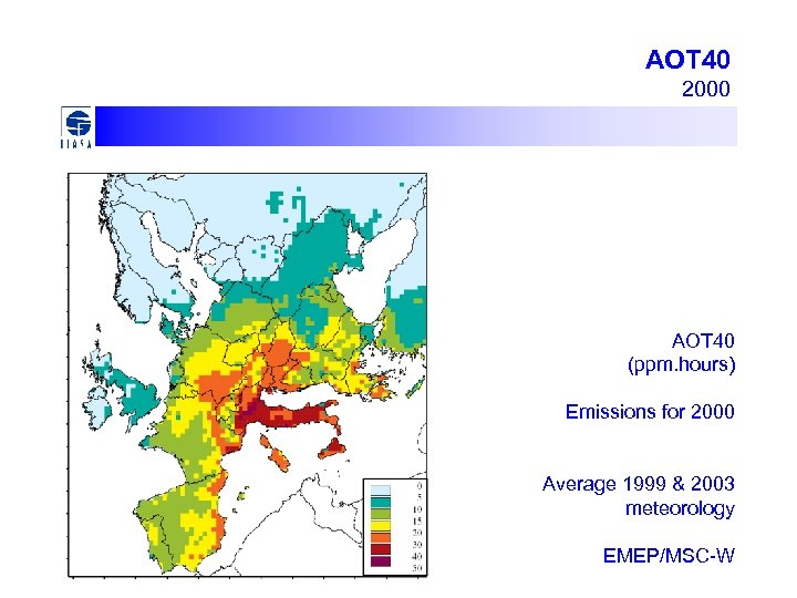 AOT 40 2000 AOT 40 (ppm. hours) Emissions for 2000 Average 1999 & 2003