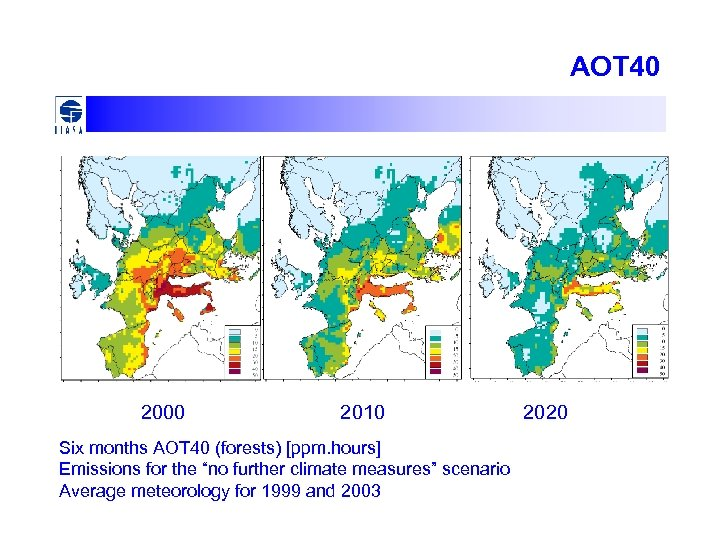 AOT 40 2000 2010 Six months AOT 40 (forests) [ppm. hours] Emissions for the