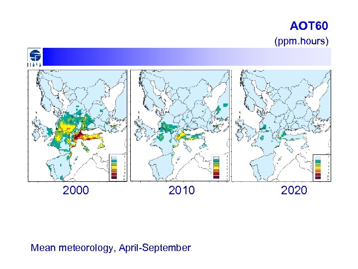 AOT 60 (ppm. hours) 2000 2010 Mean meteorology, April-September 2020