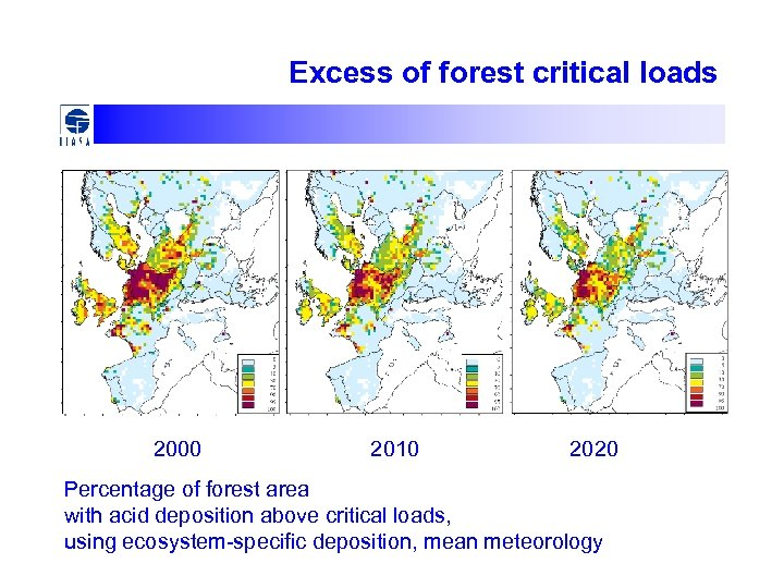 Excess of forest critical loads 2000 2010 2020 Percentage of forest area with acid