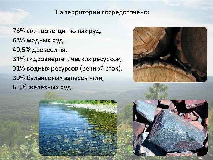 На территории сосредоточено: 76% свинцово-цинковых руд, 63% медных руд, 40, 5% древесины, 34% гидроэнергетических