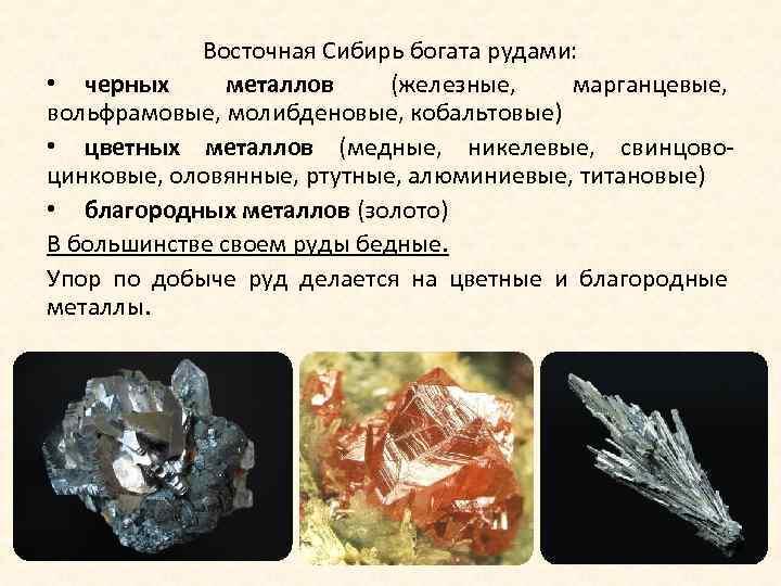 Восточная Сибирь богата рудами: • черных металлов (железные, марганцевые, вольфрамовые, молибденовые, кобальтовые) • цветных