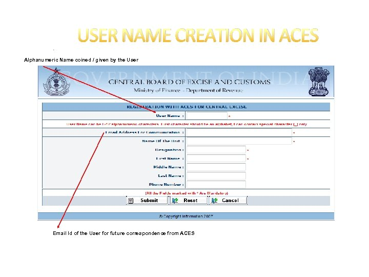 USER NAME CREATION IN ACES Alphanumeric Name coined / given by the User Email