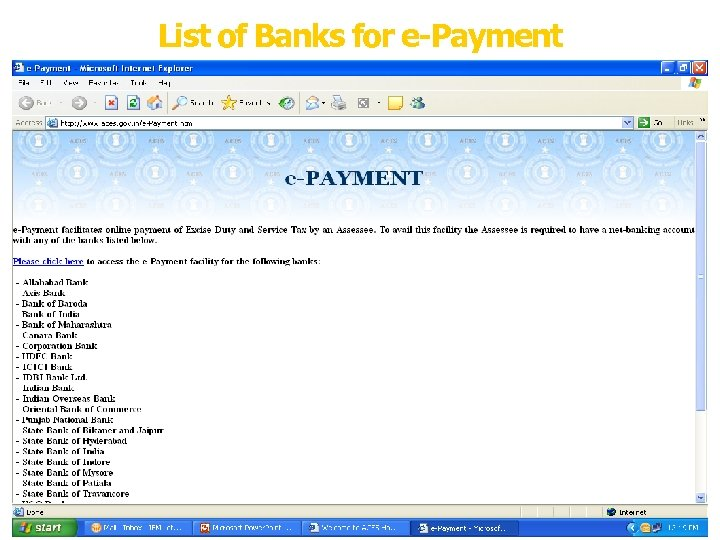 List of Banks for e-Payment