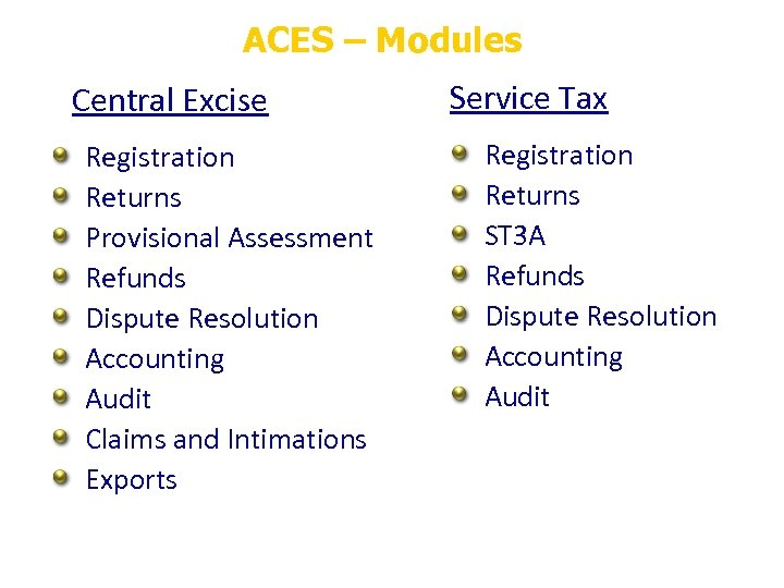 ACES – Modules Central Excise Registration Returns Provisional Assessment Refunds Dispute Resolution Accounting Audit