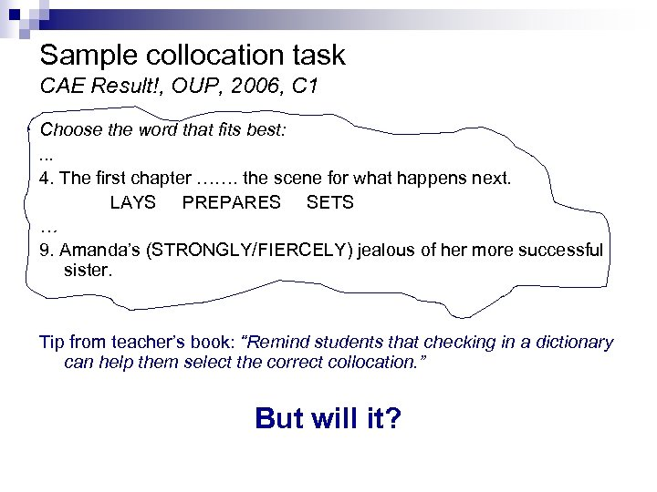 Sample collocation task CAE Result!, OUP, 2006, C 1 Choose the word that fits
