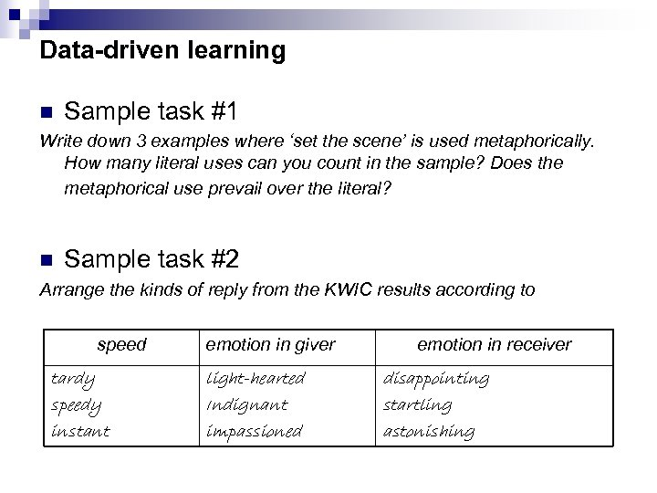 Data-driven learning n Sample task #1 Write down 3 examples where 'set the scene'