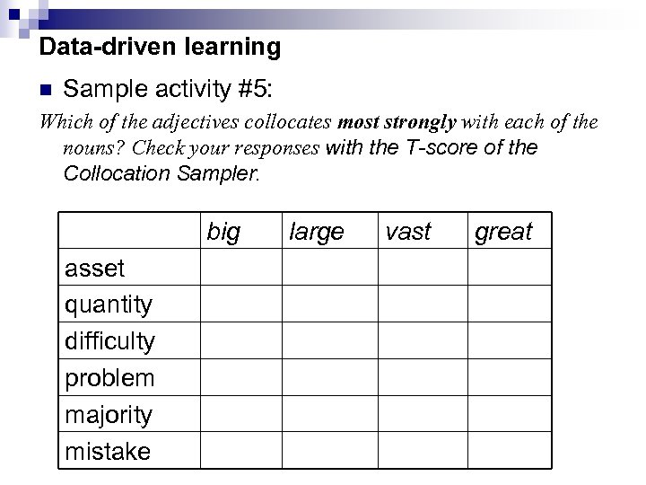 Data-driven learning n Sample activity #5: Which of the adjectives collocates most strongly with