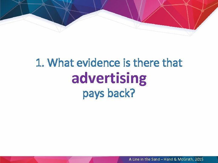 1. What evidence is there that advertising pays back? A Line in the Sand