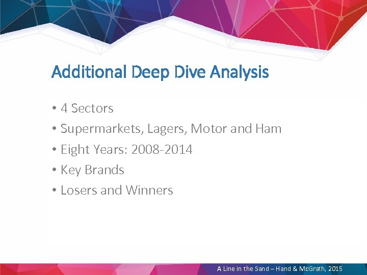 Additional Deep Dive Analysis • 4 Sectors • Supermarkets, Lagers, Motor and Ham •