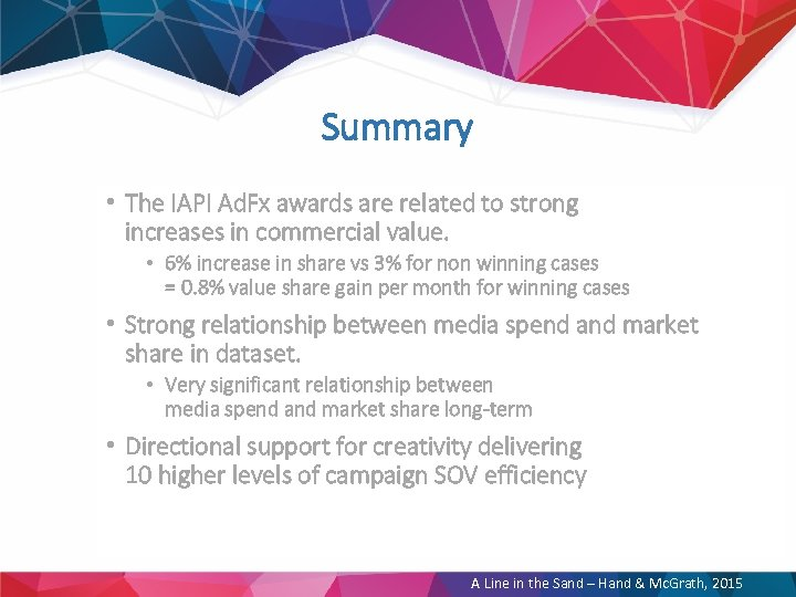 Summary • The IAPI Ad. Fx awards are related to strong increases in commercial