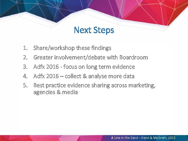 Next Steps 1. 2. 3. 4. 5. Share/workshop these findings Greater involvement/debate with Boardroom