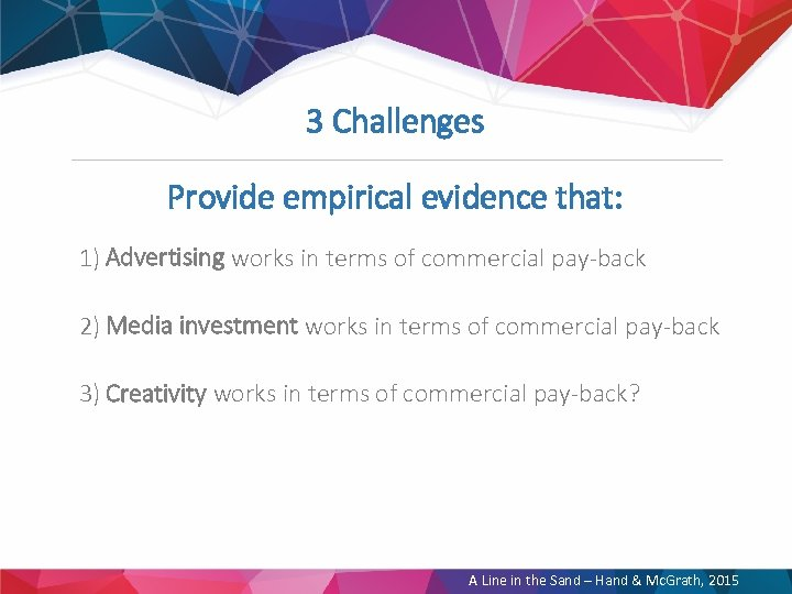 3 Challenges Provide empirical evidence that: 1) Advertising works in terms of commercial pay-back