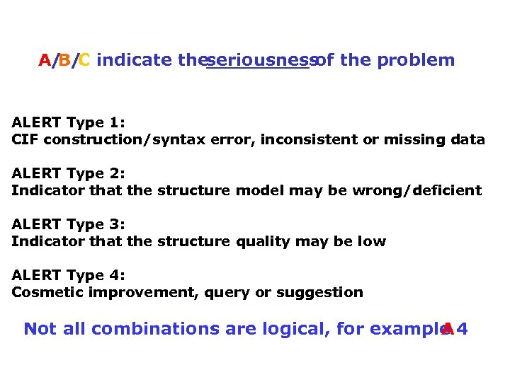 A/ C indicate theseriousness the problem B/ of ALERT Type 1: CIF construction/syntax error,