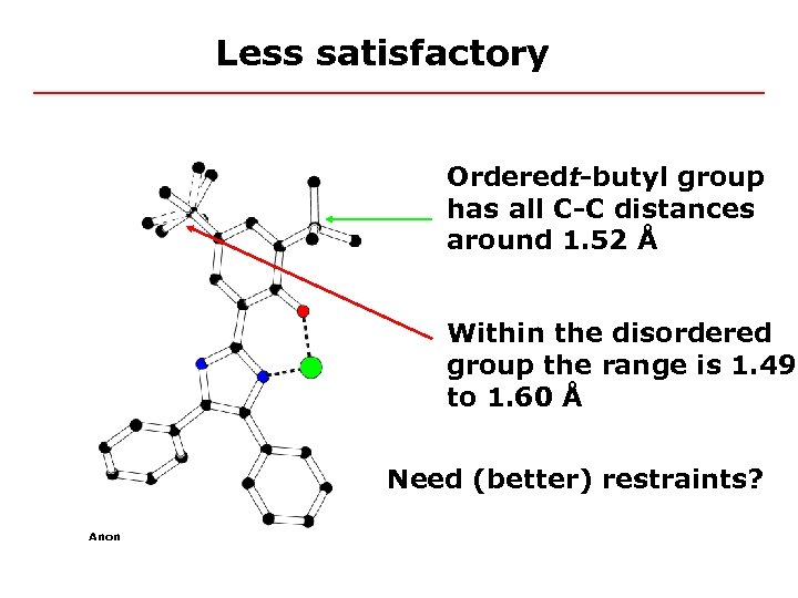 Less satisfactory Orderedt-butyl group has all C-C distances around 1. 52 Å Within the