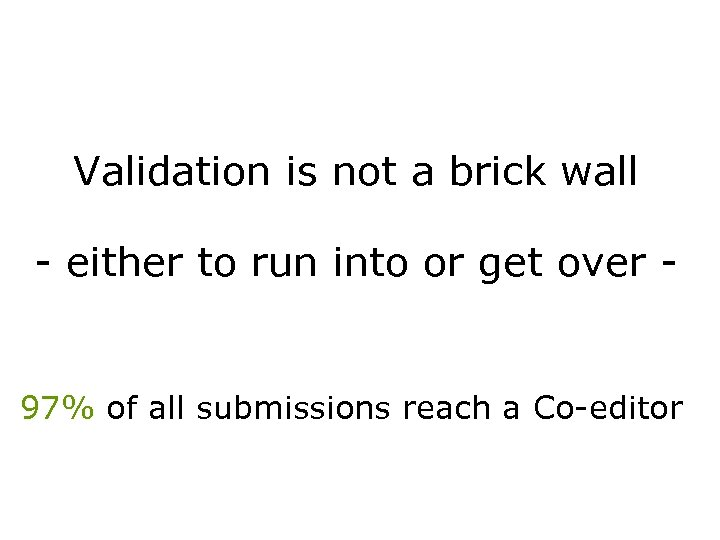 Validation is not a brick wall - either to run into or get over
