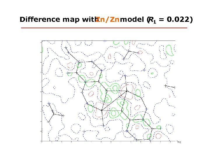 Difference map with Zn/Zn model ( 1 = 0. 022) R
