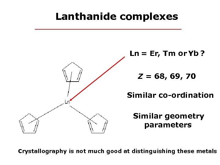 Lanthanide complexes Ln = Er, Tm or Yb ? Z = 68, 69, 70