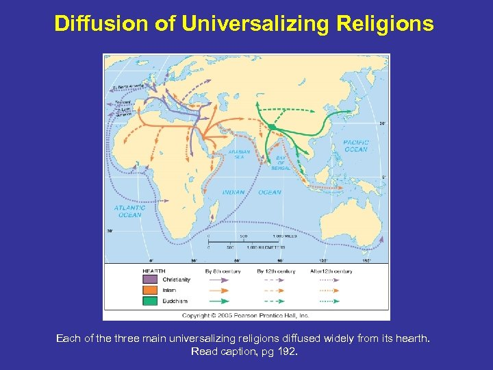Diffusion of Universalizing Religions Each of the three main universalizing religions diffused widely from