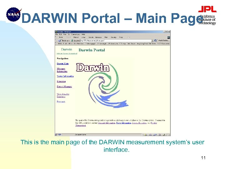 DARWIN Portal – Main Page California Institute of Technology This is the main page