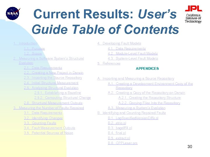 Current Results: User's Guide Table of Contents 1. Introduction 1. 1. Purpose 1. 2.