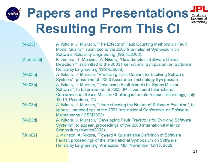 Papers and Presentations Resulting From This CI [Nik 03] [Ammar 03] [Nik 03 a]