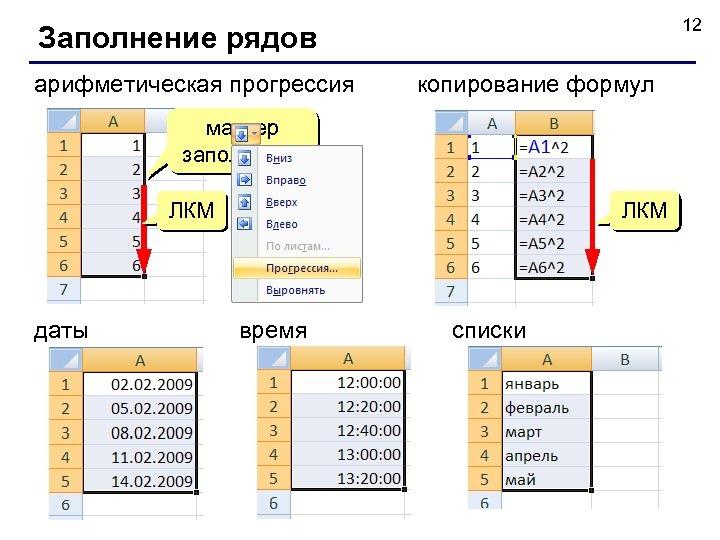 12 Заполнение рядов арифметическая прогрессия копирование формул маркер заполнения ЛКМ даты ЛКМ время списки